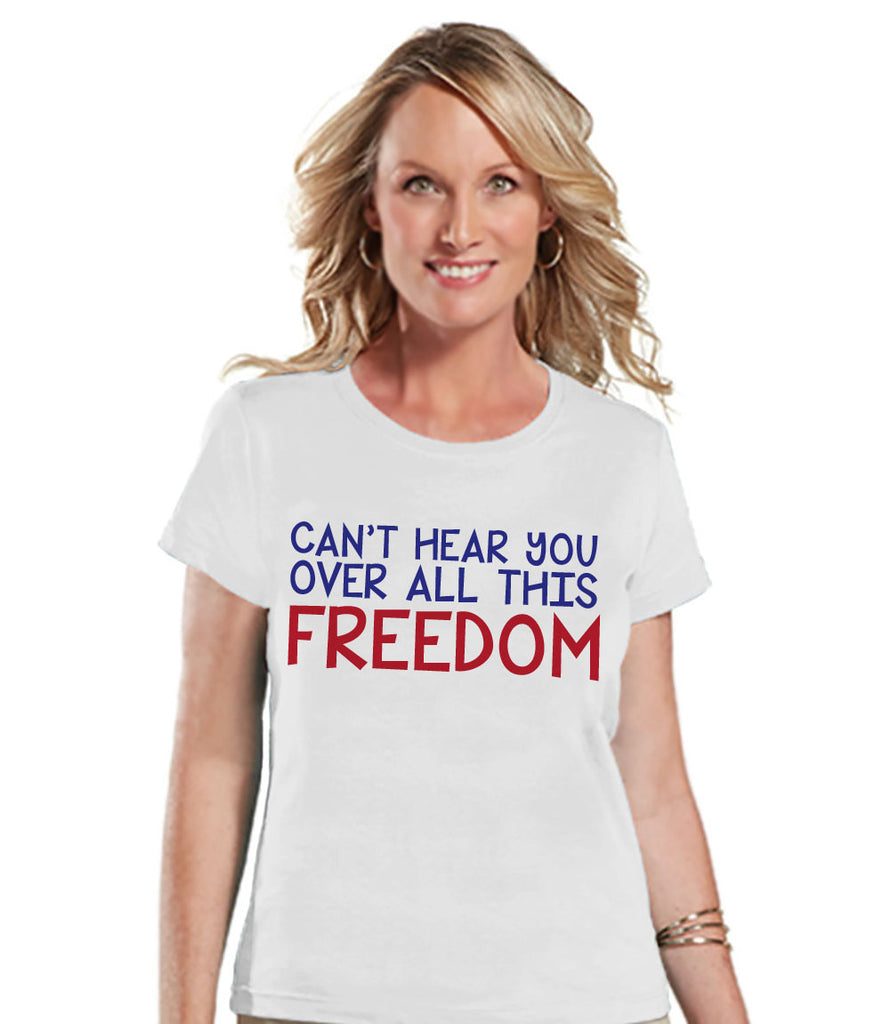 Women's 4th of July Shirt - White Freedom Shirt - Fourth of July T Shirt - White Tee - Fourth of July Outfit - Funny 4th of July Shirt - 7 ate 9 Apparel