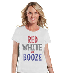 Women's 4th of July Shirt - Red White & Booze Shirt - Fourth of July T Shirt - White Tee - Fourth of July Outfit - Funny 4th of July Shirt - 7 ate 9 Apparel