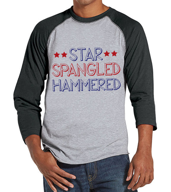 Men's 4th of July Shirt - Star Spangled Hammered Shirt - Grey Raglan Shirt - Men's Baseball Tee - Funny Fourth of July Shirt - USA Pride - 7 ate 9 Apparel