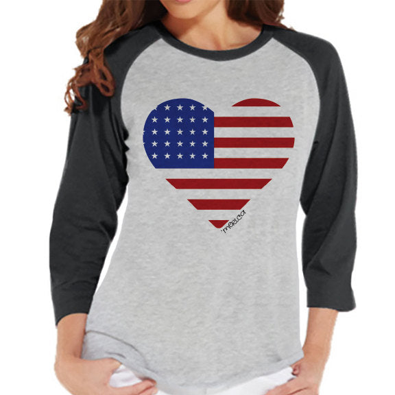 Women's 4th of July Shirt - 'Merica Heart Shirt - Grey Raglan Shirt - Women's Baseball Tee - Fourth of July Shirt - American Pride Outift