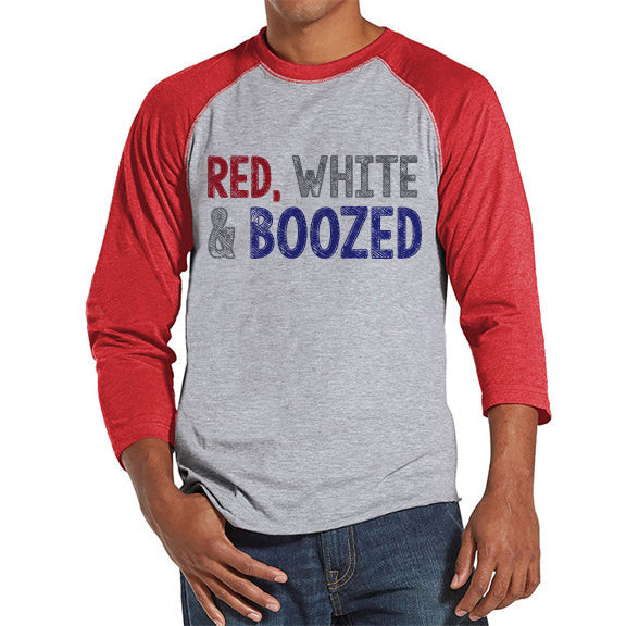 Men's 4th of July Shirt - Red, White & Boozed Shirt - Red Raglan Shirt - Men's Red Baseball Tee - Funny Fourth of July Shirt - USA Pride - 7 ate 9 Apparel