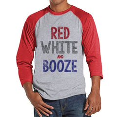 Men's 4th of July Shirt - Red, White & Booze Shirt - Red Raglan Shirt - Men's Red Baseball Tee - Funny Fourth of July Shirt - USA Pride - 7 ate 9 Apparel