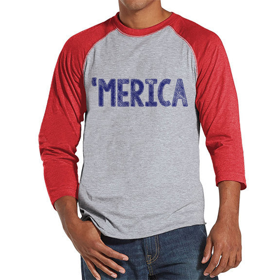 Men's 4th of July Shirt - 'Merica Shirt - Red Raglan Shirt - Men's Red Baseball Tee - Funny Fourth of July Shirt - American Pride Shirt - 7 ate 9 Apparel