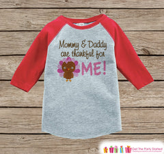Thankful Shirt - Girls Thanksgiving Outfit - Thankful for Me - Baby Girl Turkey Happy Thanksgiving Shirt - Red Raglan Tshirt or Onepiece