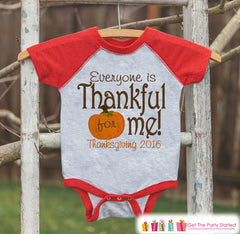 Thanksgiving Pregnancy Announcement - Everyone Is Thankful For Me - Pumpkin Pregnancy Reveal - Red Raglan - Kids Fall Shirt or Onepiece