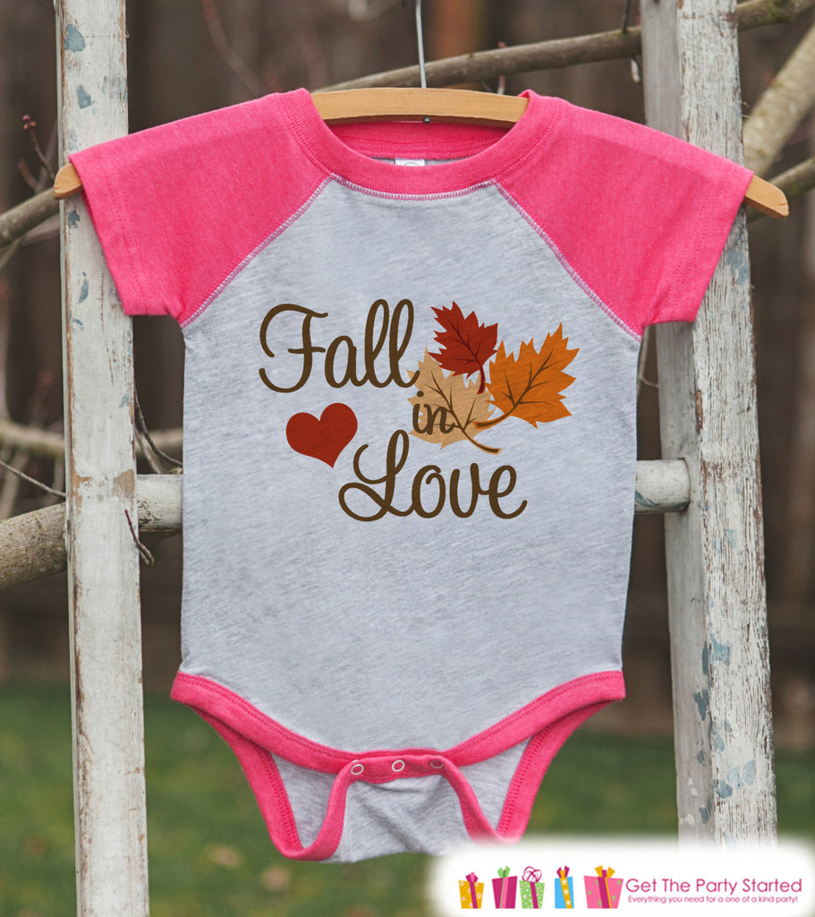 Fall in Love Outfit - Baby Fall Shirt - Baby Girl First Fall Shirt - Pink Raglan Tshirt or Onepiece - Kids Fall Autumn - Pregnancy Reveal