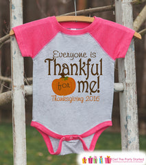 Everyone Is Thankful For Me - Girls Pumpkin Thanksgiving Outfit - Baby, Toddler, Kids, Youth - Pink Raglan - Thanksgiving Shirt or Onepiece