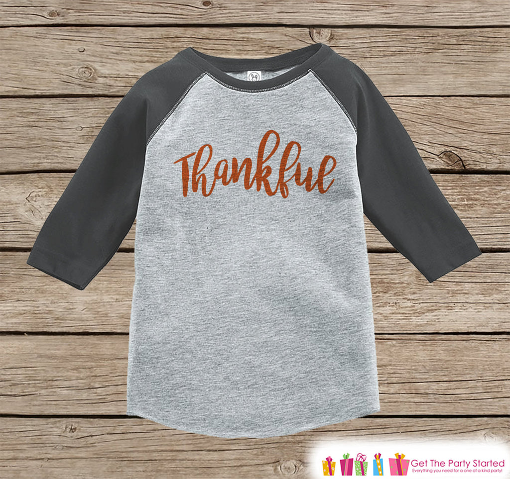 Kids Thankful Shirt - Thanksgiving Shirt or Onepiece for Kids - Pregnancy Reveal Shirt - Grey Raglan - Infant, Toddler, Youth Thanksgiving