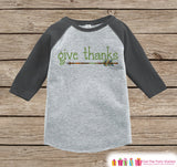 Kids Give Thanks Shirt - Green Arrow Thanksgiving Outfit - Boy or Girl Thanksgiving Shirt - Grey Raglan Tshirt or Onepiece - Boho, Indian - 7 ate 9 Apparel