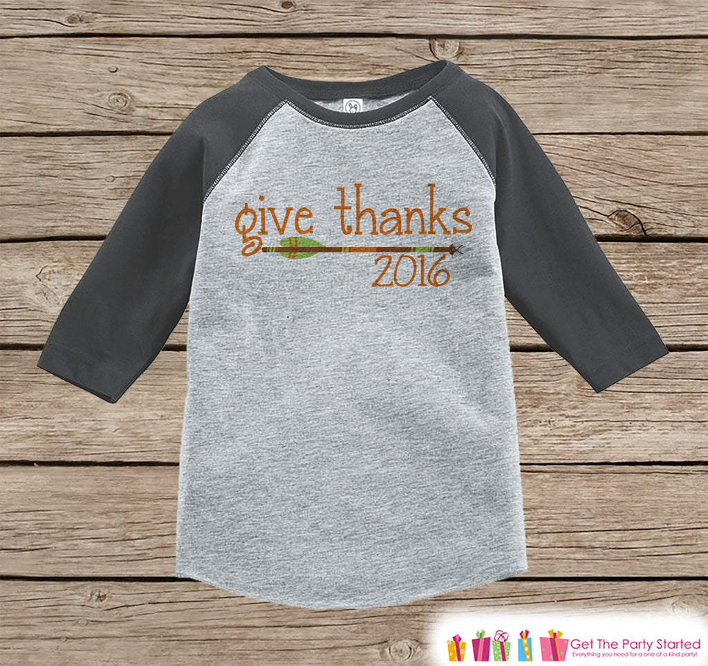 Kids Give Thanks 2016 Shirt - Arrow Thanksgiving Outfit - Boy or Girl Thanksgiving Shirt - Grey Raglan Tshirt or Onepiece - Boho, Indian - 7 ate 9 Apparel
