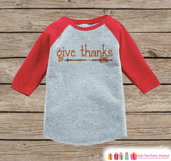 Kids Give Thanks Shirt - Orange Arrow Thanksgiving Outfit - Boy or Girl Thanksgiving Shirt - Red Raglan Tshirt or Onepiece - Boho, Indian - 7 ate 9 Apparel