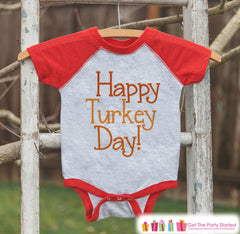 Happy Turkey Day Shirt - Thanksgiving Outfit - Boy or Girl Happy Thanksgiving Top - Red Raglan Tshirt or Onepiece - Happy Turkey Day Shirt