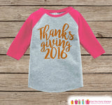 Thanksgiving 2016 Shirt - Kids Thanksgiving Outfit - Girl Happy Thanksgiving Shirt - Pink Raglan Tshirt or Onepiece - Toddler Holiday Outfit - 7 ate 9 Apparel