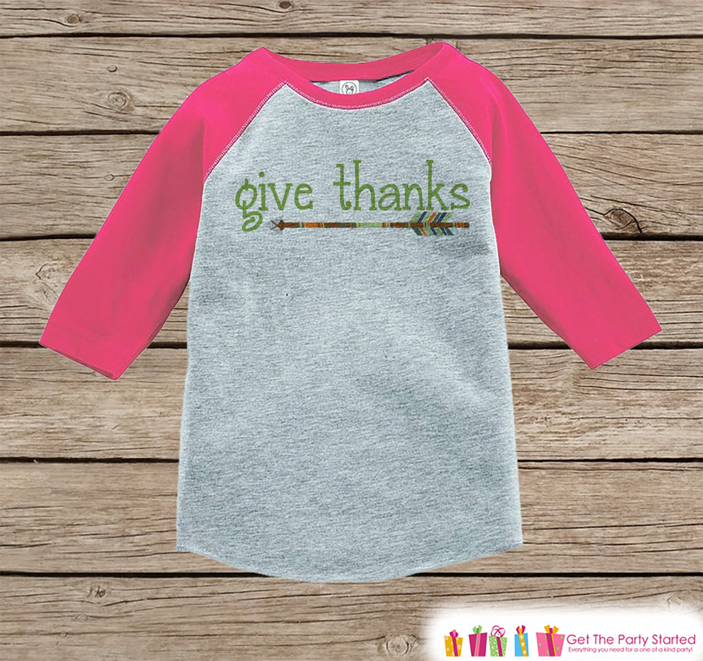 Kids Give Thanks Shirt - Green Arrow Thanksgiving Outfit - Girl Thanksgiving Shirt - Pink Raglan Tshirt or Onepiece - Boho, Indian, Tribal - 7 ate 9 Apparel