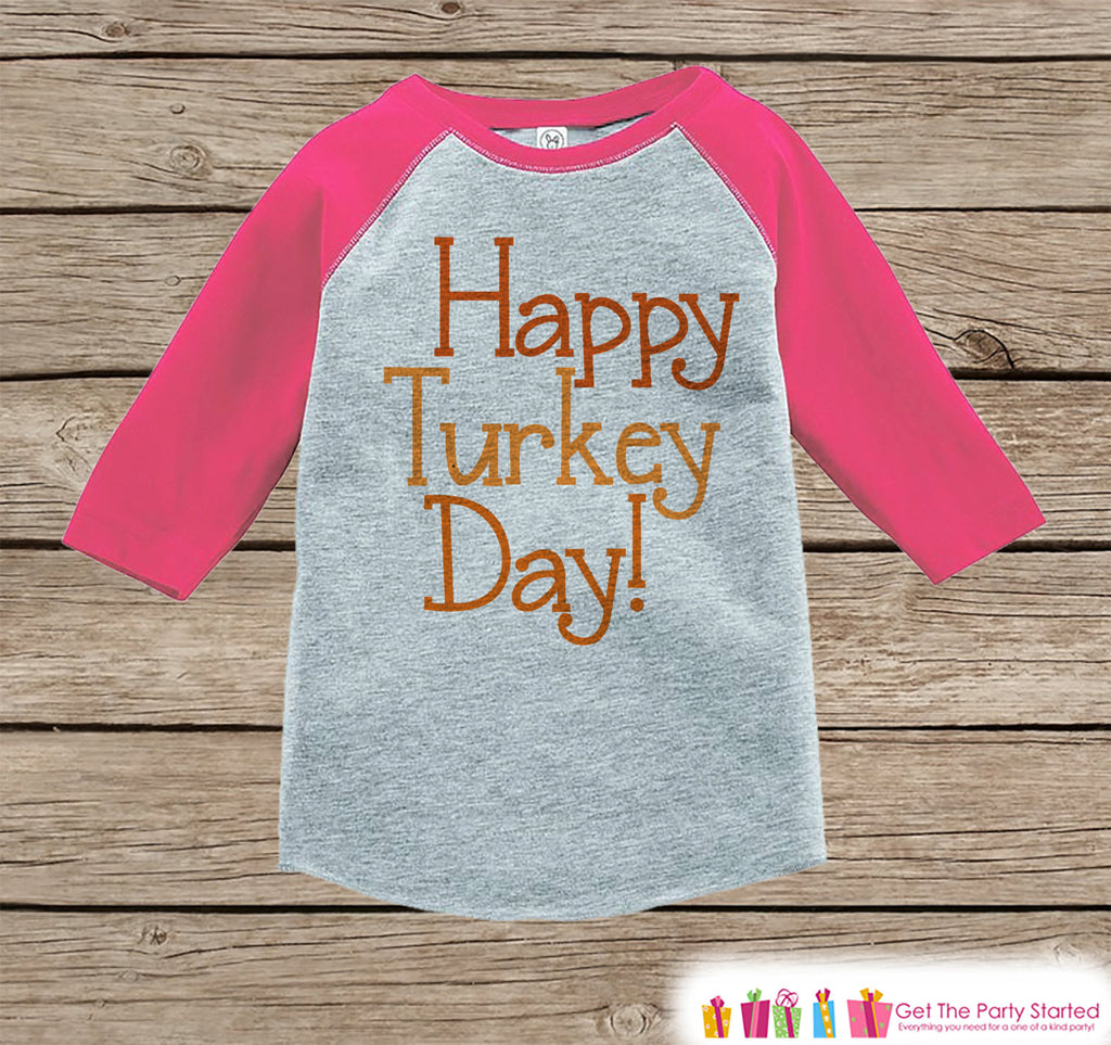Kids Happy Turkey Day Shirt - Thanksgiving Outfit - Girls Happy Thanksgiving Top - Pink Raglan Tshirt or Onepiece - Happy Turkey Day Shirt