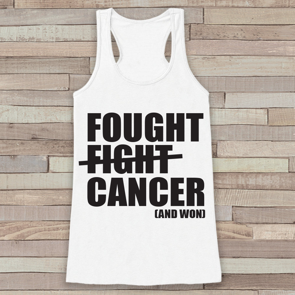 Women's Fought Cancer Tank - Cancer Survivor Tank - White Tank Top - White Racerback Tank Top - Running Race Team Tanks - Fight Cancer Shirt - 7 ate 9 Apparel