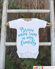 Kid's Cancer Awareness Outfit - Brave Men Run In My Family Onepiece or Tshirt - Race Team Outfit - Fight Cancer Shirt for Babies, Toddlers - 7 ate 9 Apparel