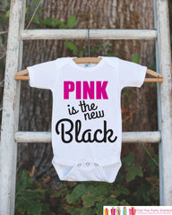 Kid's Cancer Awareness Outfit - Pink is the New Black Onepiece or Tshirt - Race Team Outfit - Fight Cancer Shirt for Babies, Toddlers, Youth - 7 ate 9 Apparel