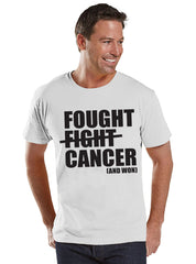 Men's I Fought Cancer Shirt - Cancer Awareness T-Shirt - White T Shirt - Team Race Running Shirt - Fight Cancer Shirt - Cancer Survivor Tee - 7 ate 9 Apparel