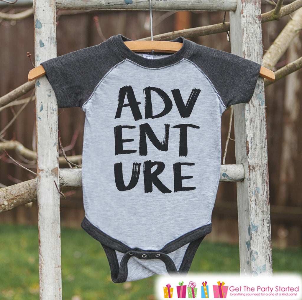 Kid's Adventure Outfit - Grey Raglan Shirt or Onepiece - Camping Shirt - Camp Shirt for Baby, Toddler, or Youth - Explore Clothing