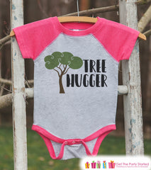 Girl's Tree Hugger Outfit - Pink Raglan Shirt or Onepiece - Kids Baseball Tee - Camp Shirt for Baby, Toddler, Youth - Adventure Clothing - 7 ate 9 Apparel