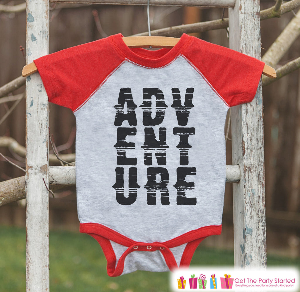 Kid's Adventure Outfit - Red Raglan Shirt or Onepiece - Camping Shirt - Camp Shirt for Baby, Toddler, or Youth - Explore Clothing - 7 ate 9 Apparel
