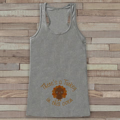 Thanksgiving Pregnancy Announcement Tank - Turkey in This Oven Pregnancy Reveal - Pregnancy Shirt - Grey Tank - Boy Thanksgiving Pregnancy