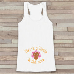 Thanksgiving Pregnancy Announcement Tank - Turkey in This Oven Pregnancy Reveal - Pregnancy Shirt - White Tank - Girl Thanksgiving Pregnancy
