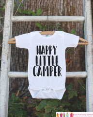 Kid's Happy Little Camper Outfit - White Shirt or Onepiece - Camping T-Shirt - Camp T Shirt for Baby, Toddler, or Youth - Adventure Clothing