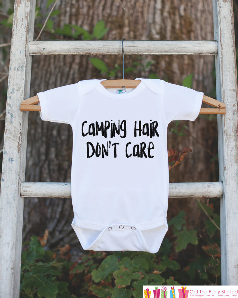Kid's Camping Hair Don't Care Outfit - White Shirt or Onepiece - Camping T Shirt for Baby, Toddler, or Youth - Adventure Clothing