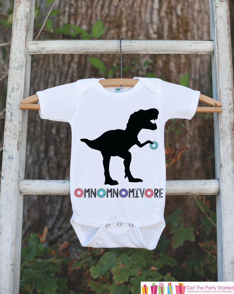 Kid's Dinosaur Shirt - Hungry Dinosaur, Donuts T Rex - White Shirt or Onepiece - Funny Shirt Baby, Toddler, Youth - Dinosaur Lover Gift Idea