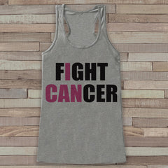 Women's I Can Fight Cancer Tank - Cancer Awareness Tank - Grey Tank Top - Grey Racerback Tank Top - Running Race Team Tanks - Fight Cancer - 7 ate 9 Apparel
