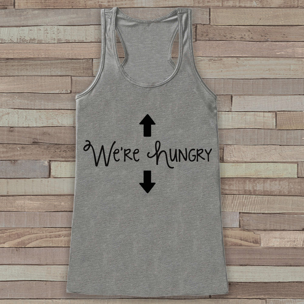 Pregnancy Announcement Tank - Simple Pregnancy Shirt - We're Hungry Tank - Grey Tank Top - Pregnancy Announcement Shirt - New Mom
