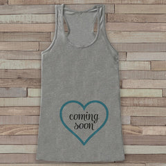 Pregnancy Announcement Tank - Pregnancy Shirt - Baby Boy Coming Soon Tank - Grey Tank Top - Pregnancy Announcement Shirt - New Mom - 7 ate 9 Apparel