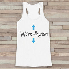 Pregnancy Announcement Tank - Simple Pregnancy Shirt - We're Hungry Baby Boy Tank - White Tank Top - Pregnancy Announcement Shirt - New Mom - 7 ate 9 Apparel