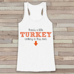 Fun Pregnancy Announcement Tank - Pregnancy Tank - Thanksgiving Pregnancy Shirt - White Tank Top - Pregnancy Announcement Shirt - New Mom
