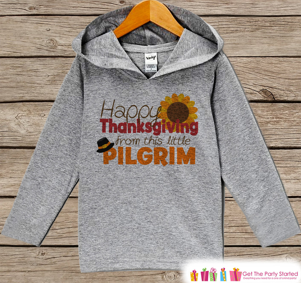 Baby Thanksgiving Outfit - Baby Boy or Girl Happy Thanksgiving Shirt - Little Pilgrim - Grey Hoodie Kids Pullover - Toddler Thanksgiving Top