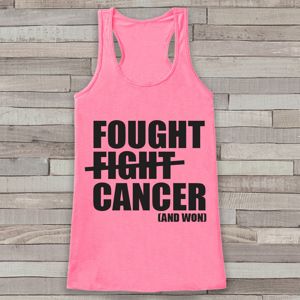 Women's Fought Cancer Tank - Cancer Awareness Tank - Pink Tank Top - Pink Racerback Tank - Running Race Team Tanks - Fight Cancer Shirt - 7 ate 9 Apparel