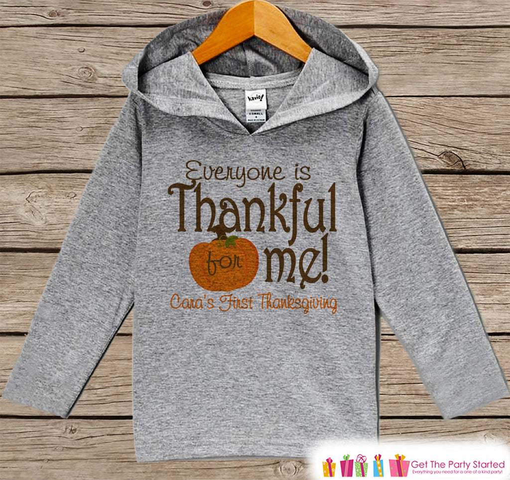 Baby Thanksgiving Outfit - Everyone Is Thankful For Me! 1st Thanksgiving Hoodie - Grey Pullover - Baby Thanksgiving Outfit - Pumpkin