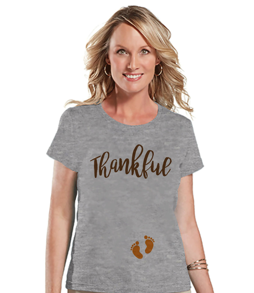 Thanksgiving Pregnancy Announcement - Thankful For Baby - Thanksgiving Pregnancy Reveal Tshirt - Grey Tshirt - Pregnancy Reveal Shirt
