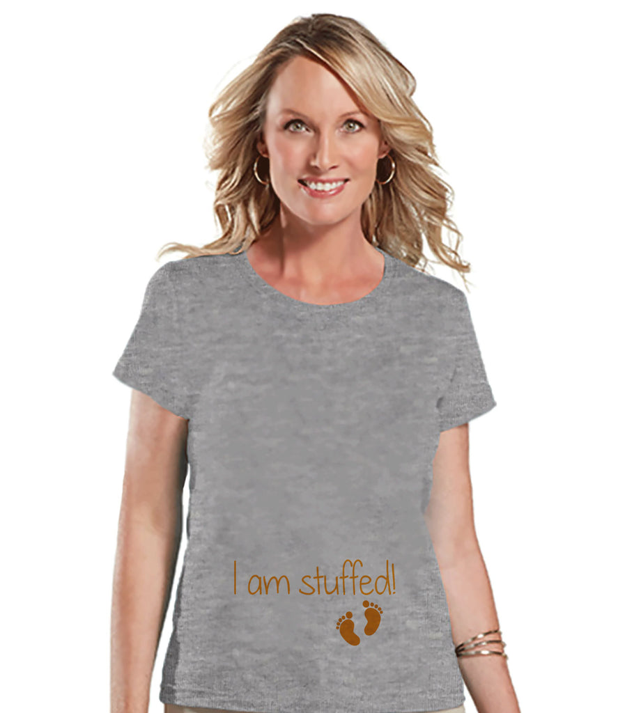 Thanksgiving Pregnancy Announcement - I am Stuffed! - Thanksgiving Pregnancy Reveal Tshirt - Grey Shirt - Pregnancy Reveal Shirt