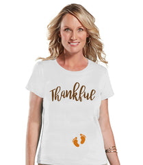Thanksgiving Pregnancy Announcement - Thankful For Baby - Thanksgiving Pregnancy Reveal Tshirt - White Tshirt - Pregnancy Reveal Shirt