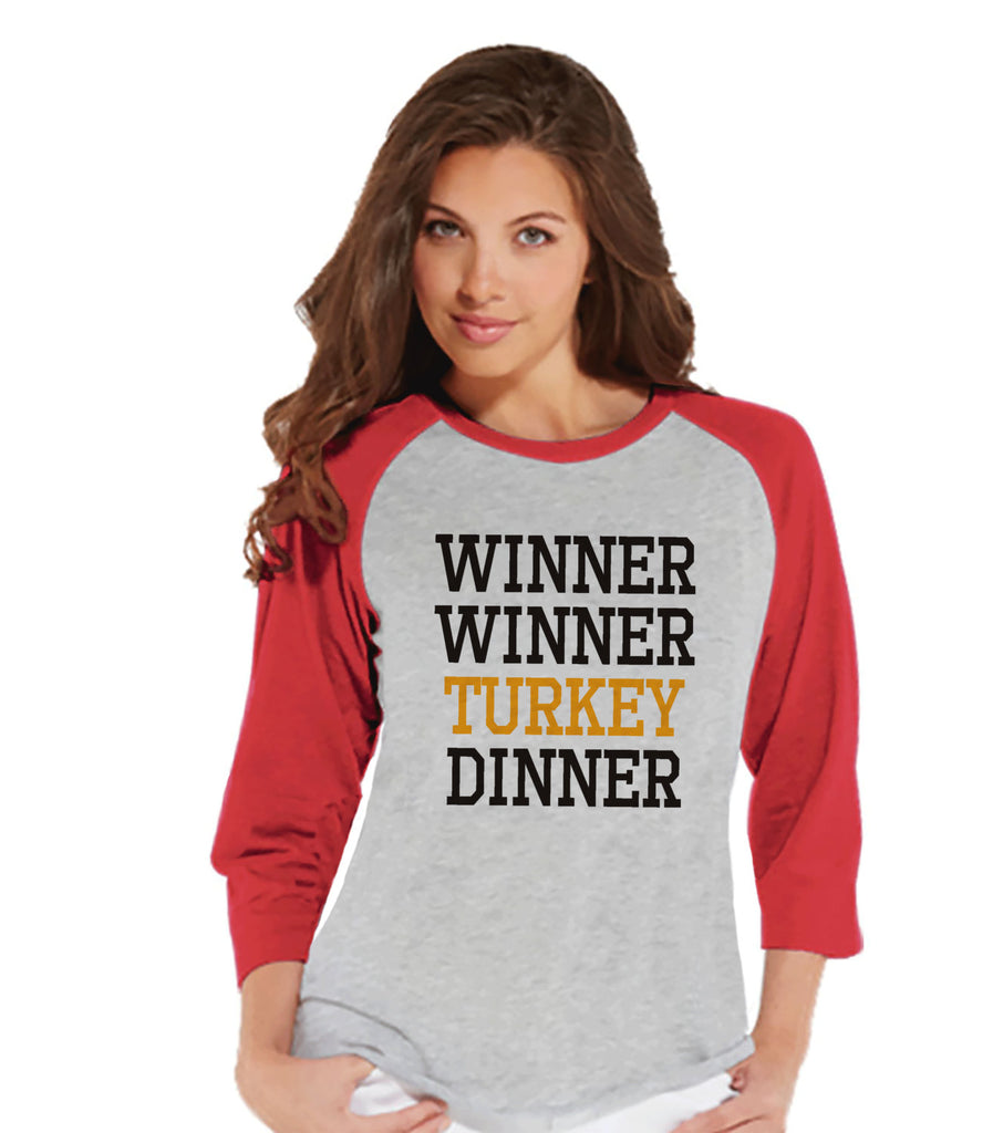 Winner Winner Turkey Dinner Shirt - Funny Food Tshirt - Funny Women's Thanksgiving Dinner Shirt - Ladies Red Raglan Tee - Funny Food Shirt