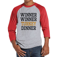 Winner Winner Turkey Dinner - Funny Adult Thanksgiving Shirt - Funny Men's Thanksgiving Dinner Shirt - Mens Red Raglan - Funny Food Shirt