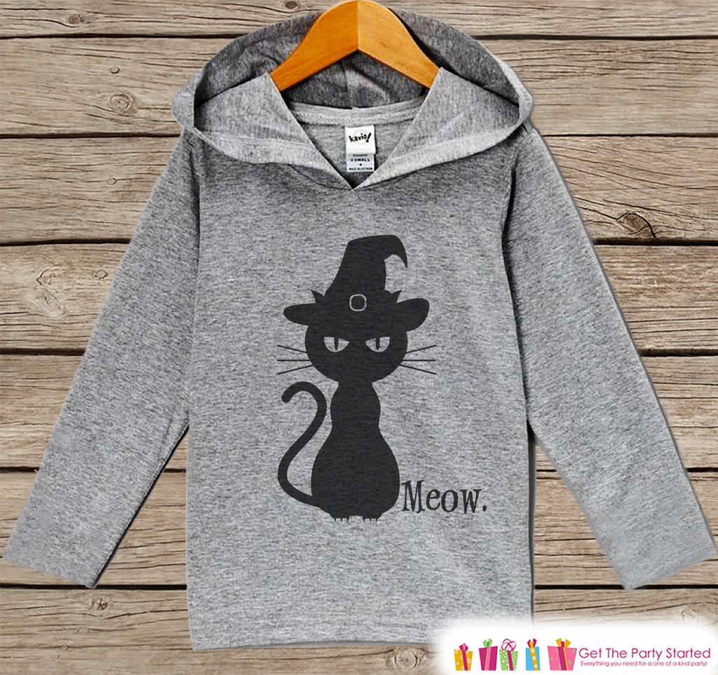 Kids Halloween Shirts - Meow. Cat Hoodie - Girls Halloween Grey Hoodie Kids Pullover - Kids Halloween Pumpkin Hoodie - Autumn Fall Shirt