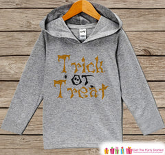 Kids Halloween Shirts - Trick or Treat Hoodie - Boy or Girl Halloween Grey Hoodie Kids Pullover - Kids Halloween Hoodie - Autumn Fall Shirt