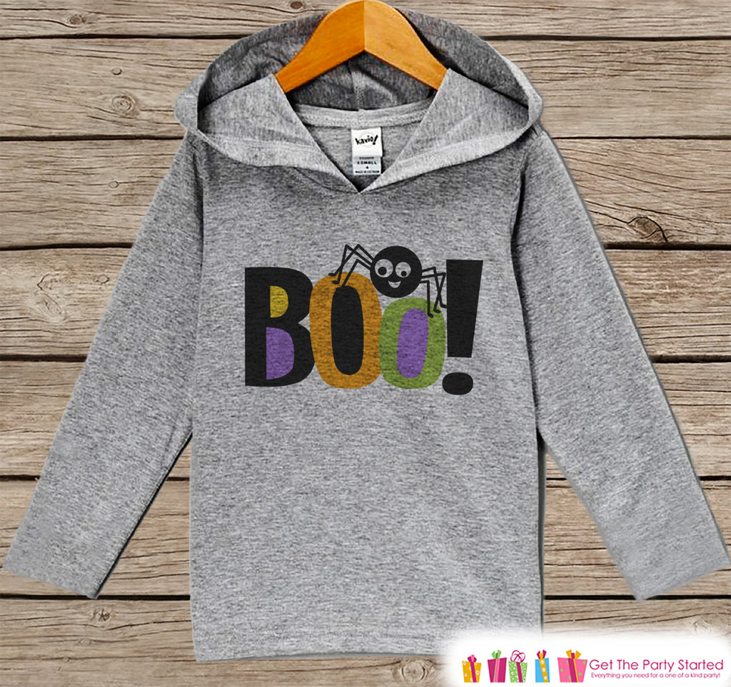 Kids Halloween Shirts - Boo! Spider Hoodie - Boy or Girl Halloween Grey Hoodie Kids Pullover - Halloween Hoodie - Toddler Halloween Costume