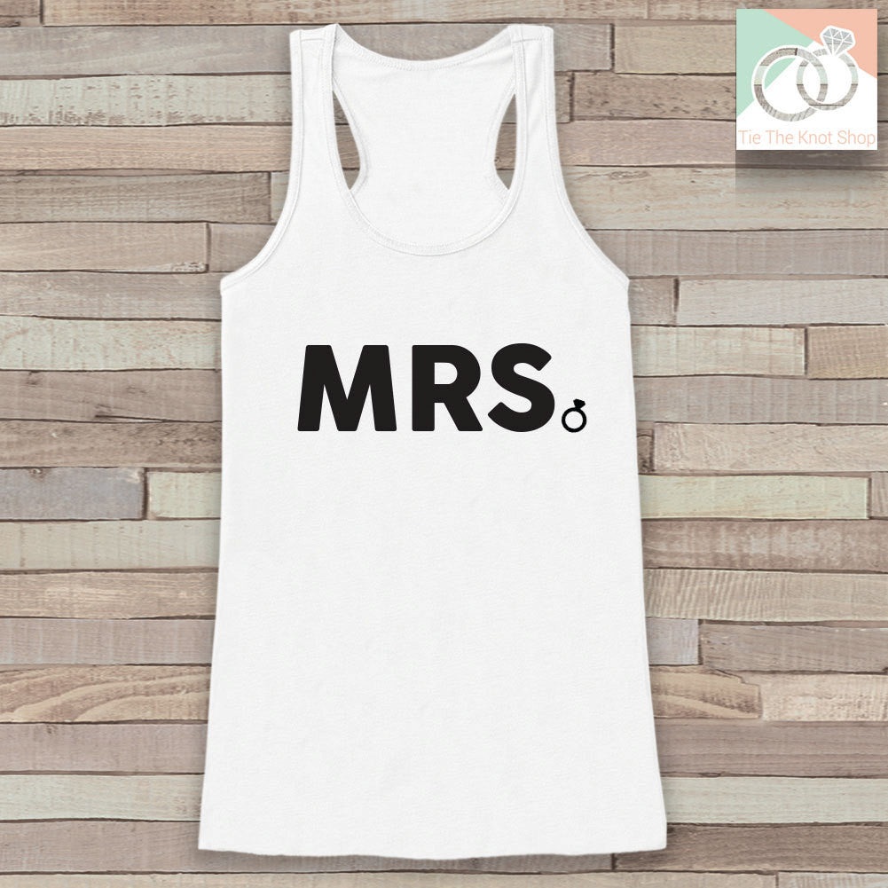 Bride Tank - Mrs. Tank - Bride To Be Tank Top - Wedding Shirt - Simple Top - White Tank Top - Bachelorette Party - Bridal Party Outfit - 7 ate 9 Apparel