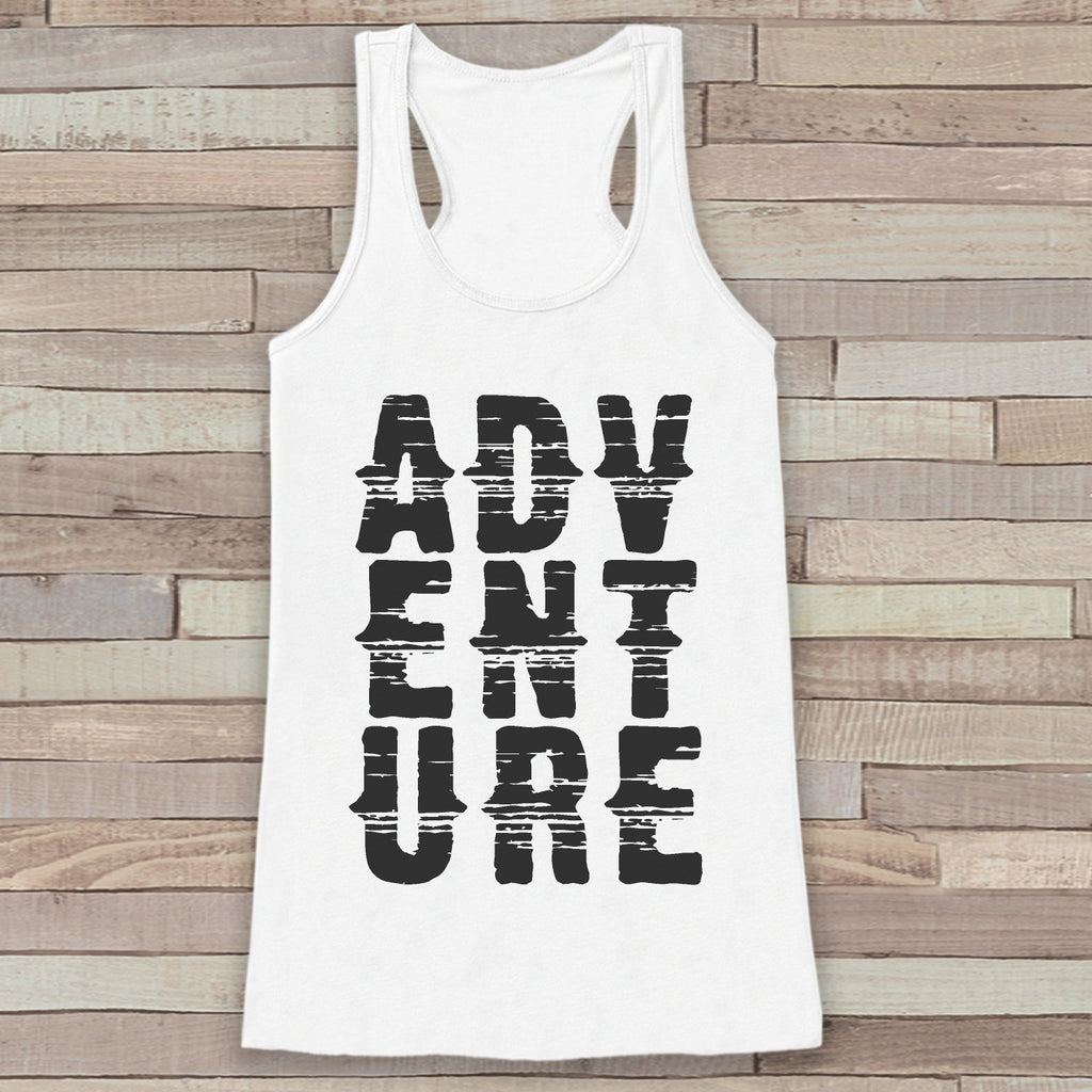 Adventure Tank - White Adventure Top - Camping Tank Top - Wilderness Tank Top - Womens Shirt - Outdoors Outfit - Hiking Shirt
