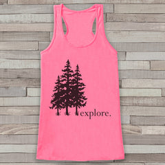 Explore - Trees Tank - Pink Camping Top - Adventure Tank Top - Wilderness Tank Top - Womens Shirt - Outdoors Outfit - Hiking Shirt
